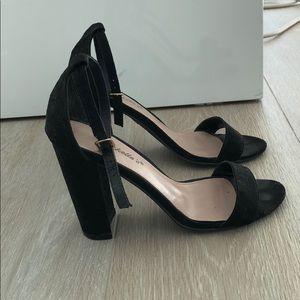 Black ankle strap heel